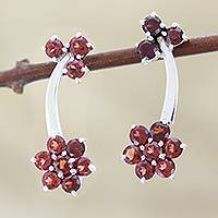 Garnet earrings, 'Blushing Daisies' - Garnet earrings