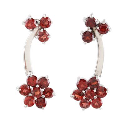 Fair Trade Sterling Silver Garnet Flower Drop Earrings