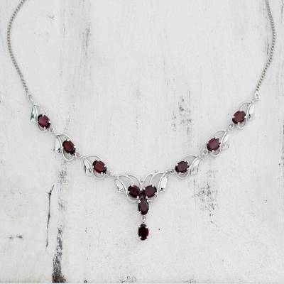 Garnet necklace, 'Buds of Passion' - Garnet necklace
