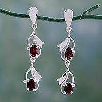 Garnet earrings, 'Buds of Passion'