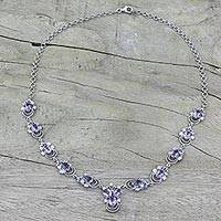 Amethyst pendant necklace, 'Mystical Butterflies' - Rhodium Plated Silver and Amethyst Pendant Necklace