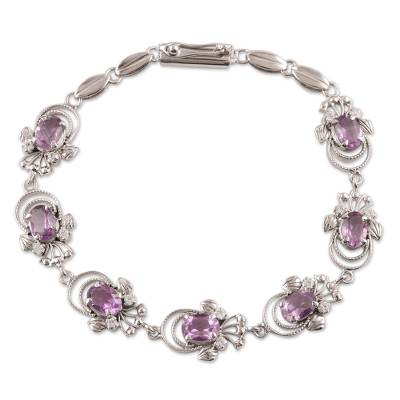 Artisan Crafted Purple Butterfly Amethyst Sterling Silver Link Bracelet