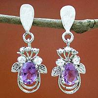 Amethyst earrings, 'Mystical Butterflies' - Amethyst earrings