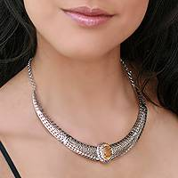 Citrine necklace, 'Star of Morn' - Citrine necklace