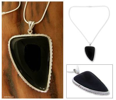 Onyx pendant necklace, 'Enchanted Night' - Onyx pendant necklace