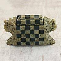 Soapstone coasters, 'Elephant Chess' (set of 6) - Natural Soapstone Hand Crafted Coasters and Holder
