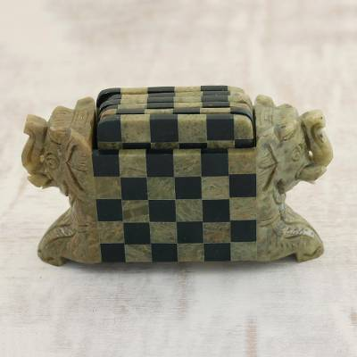 Soapstone coasters, Elephant Chess (set of 6)