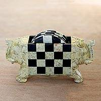 Soapstone coasters, 'Elephant Checkers' (set of 6) - Hand Crafted Soapstone Coasters and Holder (Set of 6)