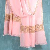 Wool shawl, 'Lavish Pink' - Wool shawl