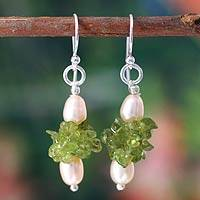 Cultured pearl and peridot cluster earrings, Peachy Lime