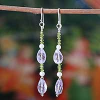 Amethyst and peridot dangle earrings, 'Summer Wine' - Amethyst and Peridot Dangle Earrings