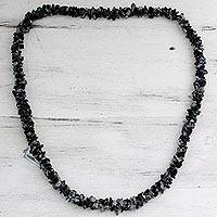 Snowflake obsidian long necklace, 'Winter Night'