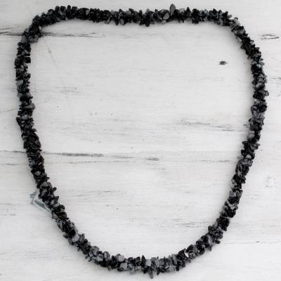 Snowflake obsidian long necklace, 'Winter Night' - Handmade Beaded Obsidian Necklace