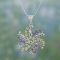 Amethyst and citrine pendant necklace, 'Star of Hope' - Silver Starburst with Scattered Amethyst and Citrine Accents