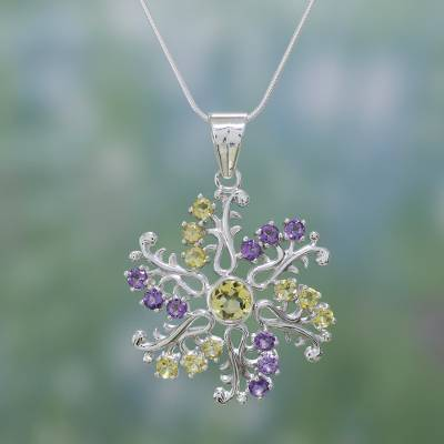 Amethyst and citrine pendant necklace, 'Star of Hope' - Hand Made Citrine and Amethyst Pendant Necklace