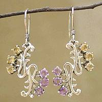 Amethyst and citrine dangle earrings, 'Mystic Ferns' - Amethyst and Citrine Dangle Earrings