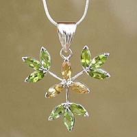 Citrine and peridot pendant necklace, 'Nature's Awakening' - Citrine and peridot pendant necklace
