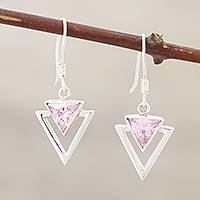 Sterling silver dangle earrings, 'One Direction' - Handcrafted Sterling Silver Earrings with Cubic Zirconia