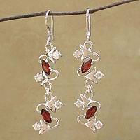 Garnet earrings, 'Berry Vines' - Floral Sterling Silver Garnet Earrings