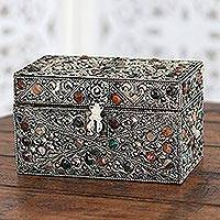 Brass jewelry box, 'Majestic View' - Repousse Brass Jewelry Box