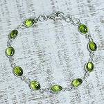 Peridot and Sterling Silver Link Bracelet from India, 'Elegant'