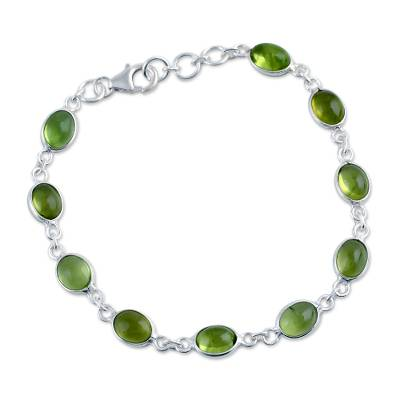Unique Peridot and Sterling Silver Link Bracelet from India