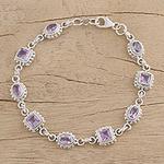 Sterling Silver Amethyst Bracelet Handmade Jewelry, 'Couples'