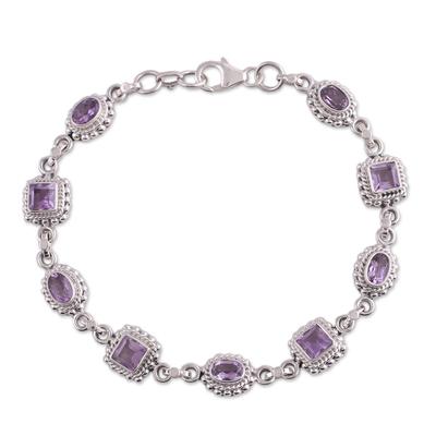 Amethyst link bracelet, 'Couples' - Sterling Silver Amethyst Bracelet Handmade Jewelry
