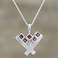 Garnet pendant necklace, 'Red Tulips' - Garnet Pendant Necklace from India