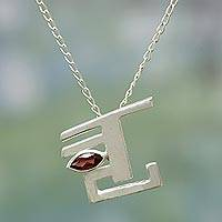 Garnet pendant necklace, 'Mystic' - Garnet pendant necklace