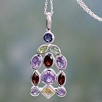 Amethyst and garnet pendant necklace, 'Color Cascade' - Handcrafted Amethyst Multigem Pendant Necklace