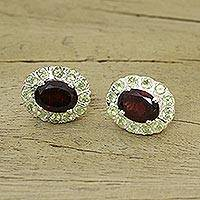 Garnet and peridot earrings, 'Sisters' - Sterling Silver Peridot and Garnet Button Earrings