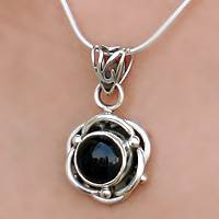 Onyx pendant necklace, 'Black Rose' - Onyx Pendant in Sterling Silver Necklace Flower Jewelry