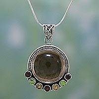 Quartz and garnet pendant necklace, 'Harvest Moon' - Quartz Multigem Pendant Necklace