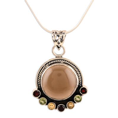 Quartz and garnet pendant necklace, 'Harvest Moon' - Quartz Multigem Pendant Necklace