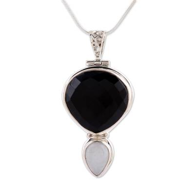 Onyx and moonstone pendant necklace, 'Reunion' - Onyx and Moonstone Pendant Necklace