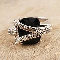 Onyx cocktail ring, 'Secret' - Handcrafted Onyx and Silver Cocktail Ring from India