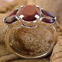Garnet cluster ring, 'Crimson Kiss' - Artisan Crafted Garnet Ring Birthstone Jewelry