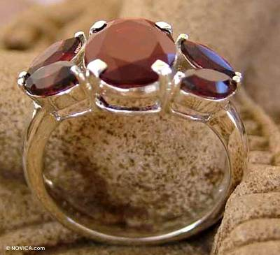 Garnet cluster ring, 'Crimson Kiss' - Artisan Crafted Garnet Ring Birthstone Jewelry
