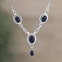 Onyx Y-necklace, 'Mystery' - Indian Onyx and Sterling Silver Necklace