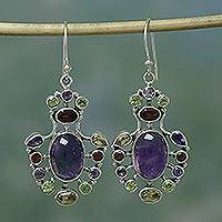 Amethyst and peridot dangle earrings, 'Purple Peacock' - Handcrafted Multigem Earrings