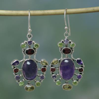 Amethyst and peridot dangle earrings, 'Purple Peacock' - Multicolor Multigem Earrings in Sterling Silver