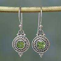 Peridot earrings, 'Lemon-Lime Drops' - Fair Trade Jewelry Sterling Silver and Peridot Earrings
