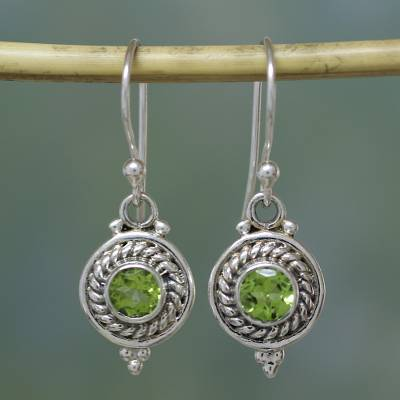 Fair Trade Jewellery Sterling Silver And Peridot Earrings Lemon Lime Drops