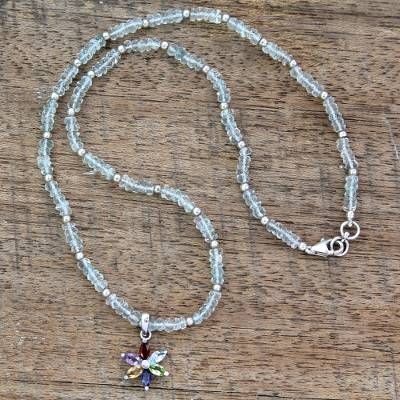 Blue topaz and amethyst floral necklace, 'Paradise in Bloom' - Blue Topaz Multigem Pendant Necklace