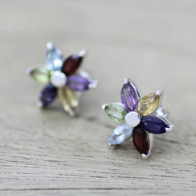 Multi-gemstone flower earrings, 'Paradise in Bloom' - Floral Earrings in Sterling Silver and Natural Gemstones