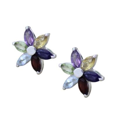 Floral Earrings in Sterling Silver and Natural Gemstones