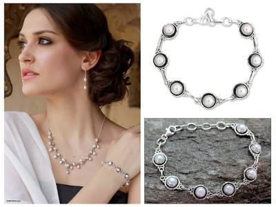 Pearl link bracelet, 'Shining Moons' - Bridal jewellery Sterling Silver Link Pearl Bracelet