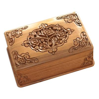 Walnut jewelry box, 'Mesmerizing Bouquets' - Handcrafted Indian Floral Wood jewellery Box