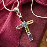 Handmade Multigem Cross Sterling Silver Religious Choker, 'Colorful Cross'